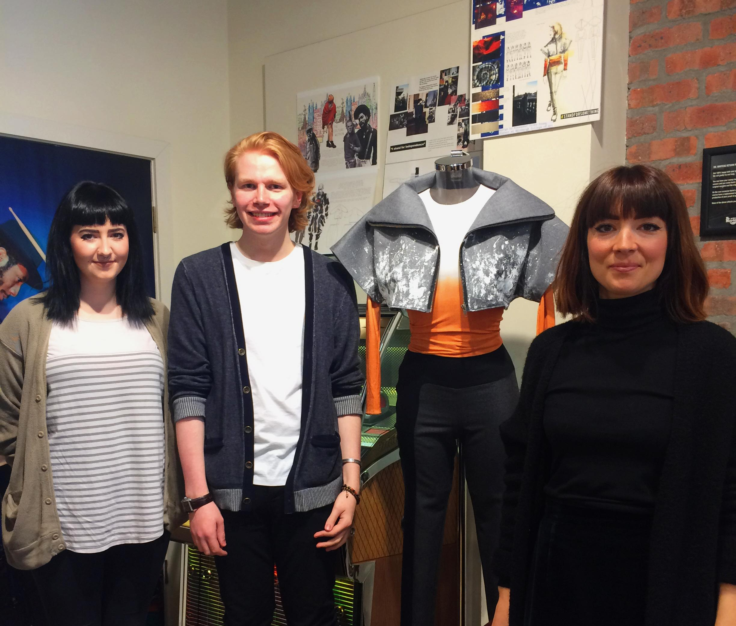 Edinburgh Store Manager Jenni Birrell, alongside Alex Irons-Young and his winning outfit. With Fashion Tutor Coline Henault.