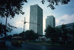 Ulitsa Moldaguluvoi, north side/three 24-storet blocks under construction/photo 1984/photographer M Glendinning