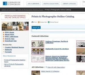 The Prints & Photographs Online Catalog of the Library of Congress is a very good example of a general-interest collection.