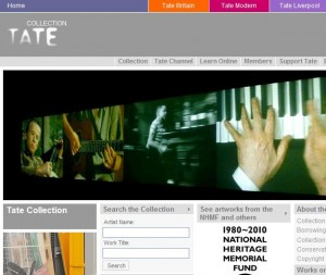 The home page of the online Tate Collection.