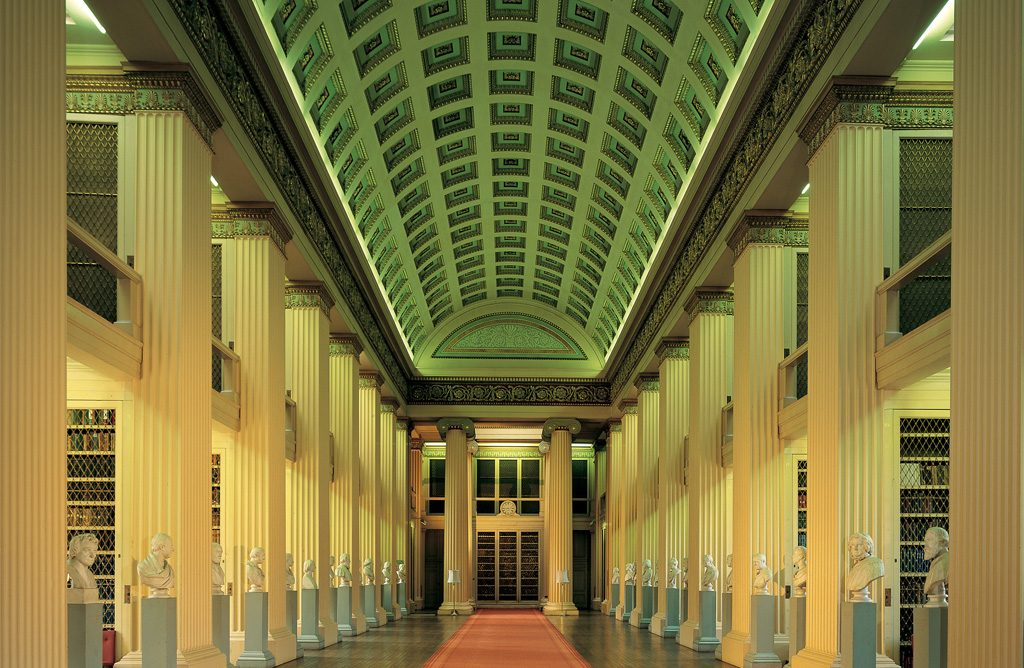 Photo of the interior of the Playfair Library